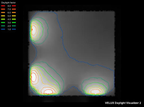Fattore di luce diurna abitazione calcolato con Velux Daylight Visualizer