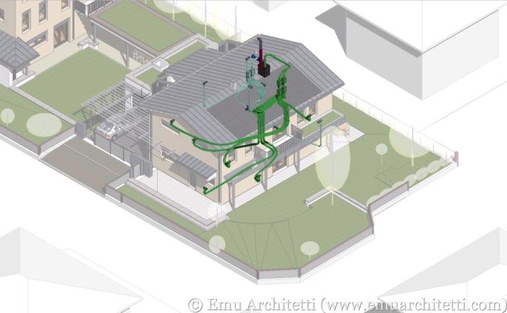 Esempio di un impianto di ventilazione meccanica controllata con recupero di calore.