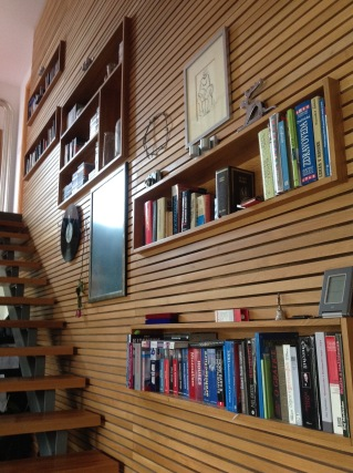 Beautiful integrated bookcase and wall cladding. In a #Passivhaus in #Slovakia