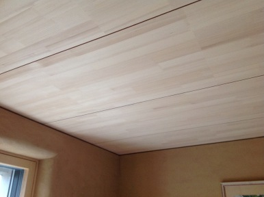 Wooden ceiling finish on interior slab - by CreaTerra in #Slovakia.