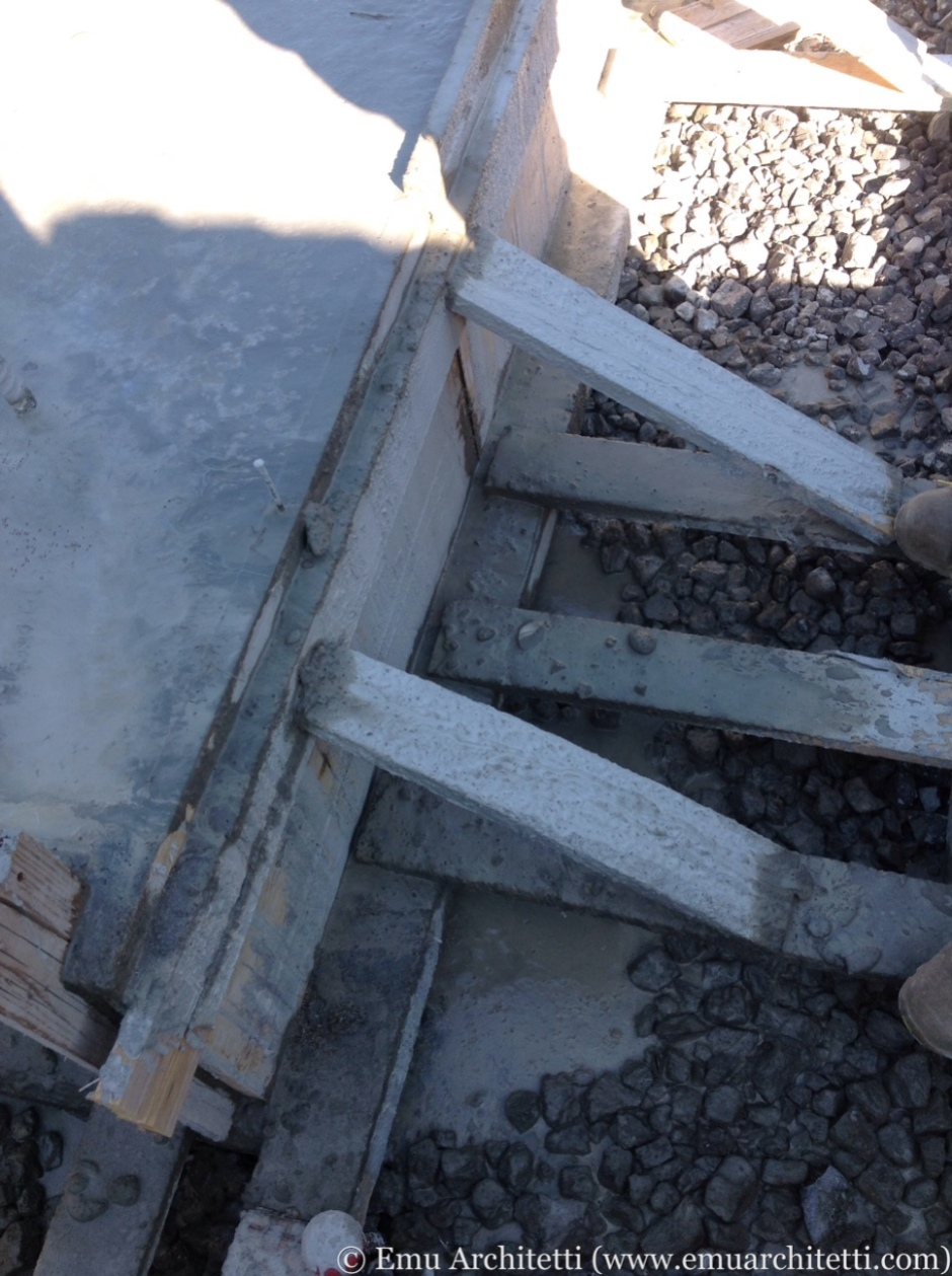 Concrete leaked out from underneath the formwork