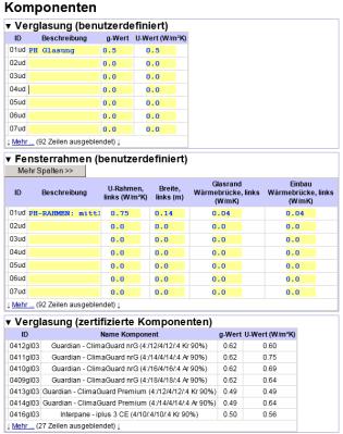 I componenti dell'involucro, comprendenti elementi opachi e serramenti: possono essere inseriti dall'utente o presi direttamente dal database dei componenti certificati del Passivhaus Institut.