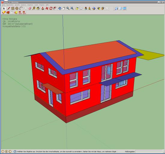 Un'immagine della modellazione di un edificio passivo in SketchUp, con il plug-in DesignPH, prima dell'esportazione dei dati in PHPP.