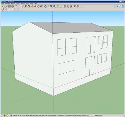 Il primo passo prevede di realizzare i volumi dell'involucro termico dell'edificio, utilizzando i normali comandi di SketchUp.