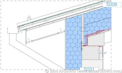 Esempio di dettaglio costruttivo del nodo tra parete e copertura di una Casa Passiva, con evidenziati in rosso gli elementi necessari per la tenuta all'aria.