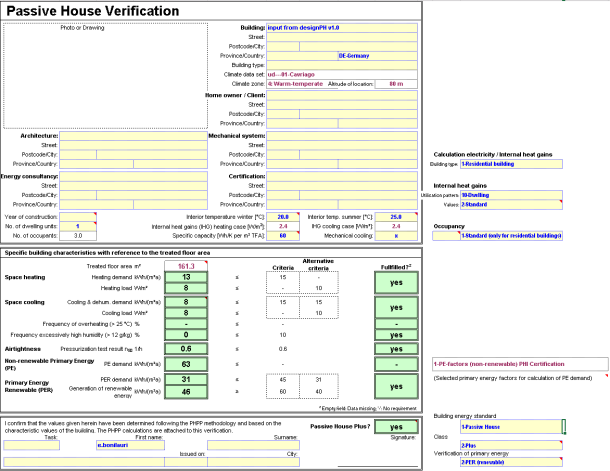 PHPP9 Verification sheet
